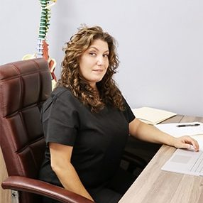 Chiropractor Beverly Hills CA Heather Valinsky at her Desk